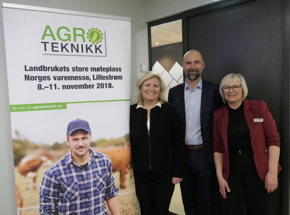 Årets Agroteknikk blir alt på ett sted, påstår prosjektleder Anita Helene Hall, styreleder Trond Kjempekjenn og prosjektleder Norges Varemesse, Eli Næsfeldt.