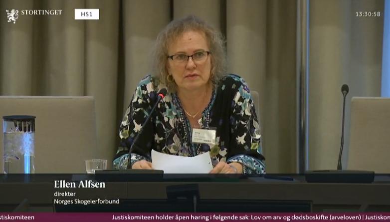 Ellen Alfsen på høring i Stortinget - Innfør tidsfrist for dødsbo i landbruket