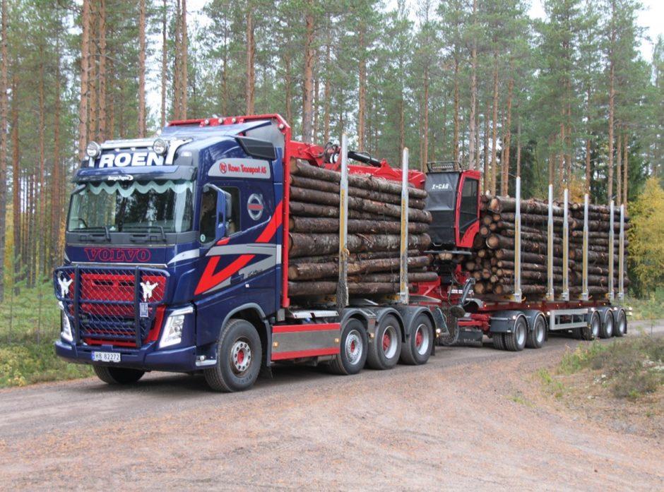 Prøveordning for 74 tonn tømmervogntog. Foto Dag Skjølaas