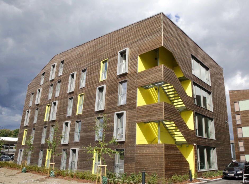 De nye studentboligene Bjølstad 5 i Fredrikstad er bygget i KL-tre. Foto: Gina Aakre