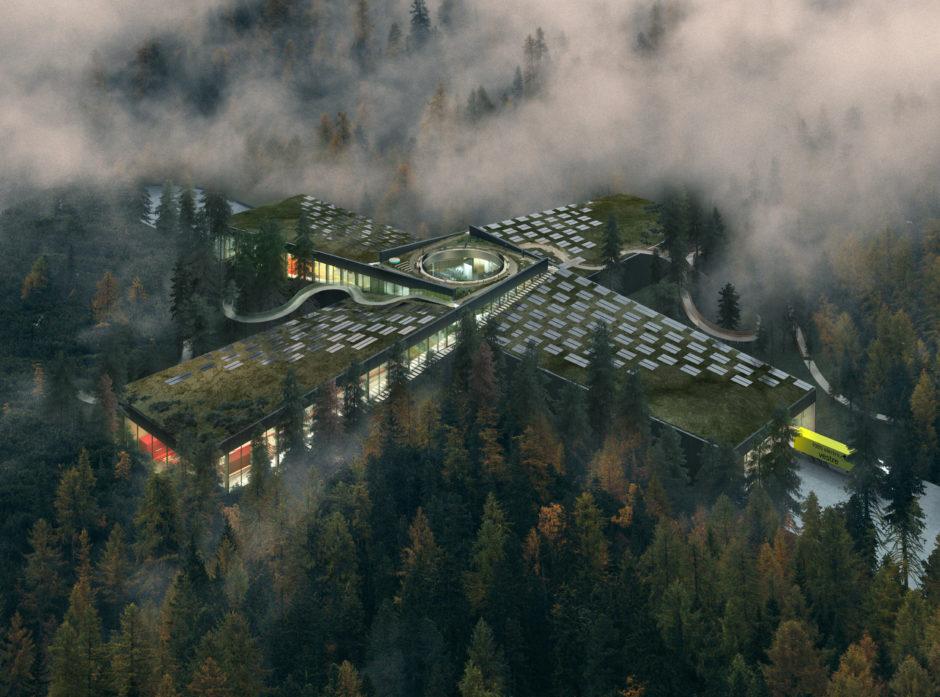 Vestre bygger nå verdens mest miljøvennlige møbelfabrikk på Magnor i Eidskog kommune i Innlandet. Fabrikken har fått konseptnavnet The Plus og skal  blant annet bestå av 2700 m3 limtre og massivtre. Illustrasjon: BIG/Vestre